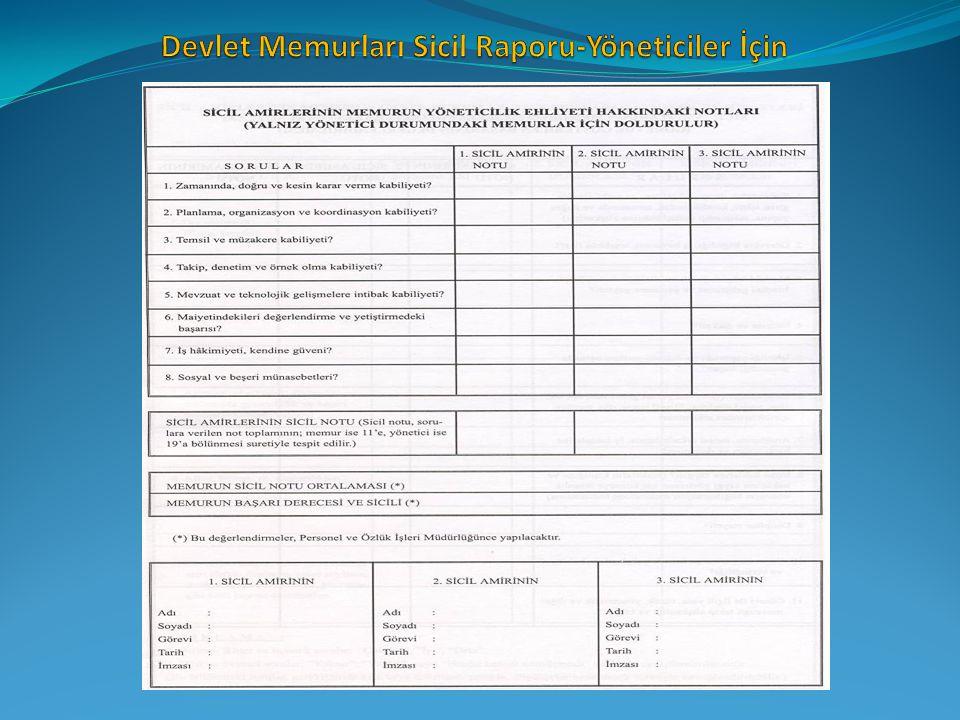 Devlet Memurları Sicil Raporu-Yöneticiler İçin
