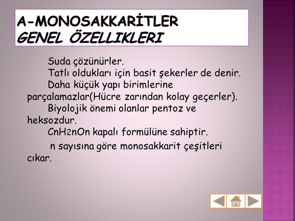 A-MONOSAKKARİTLER Genel Özellikleri
