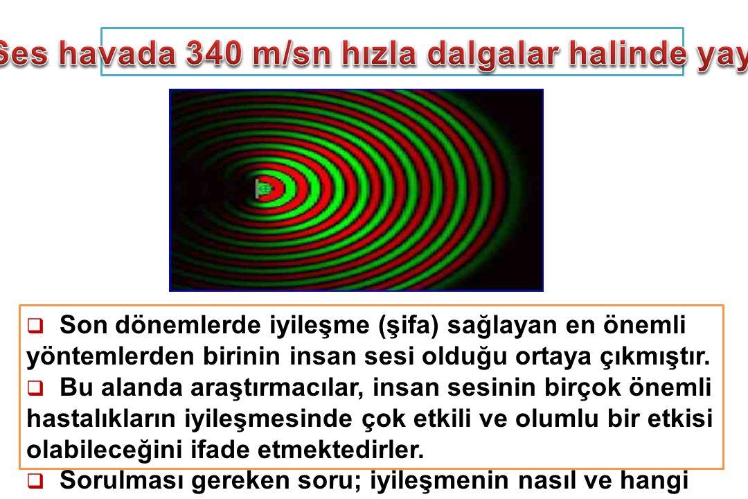 Ses havada 340 m/sn hızla dalgalar halinde yayılır