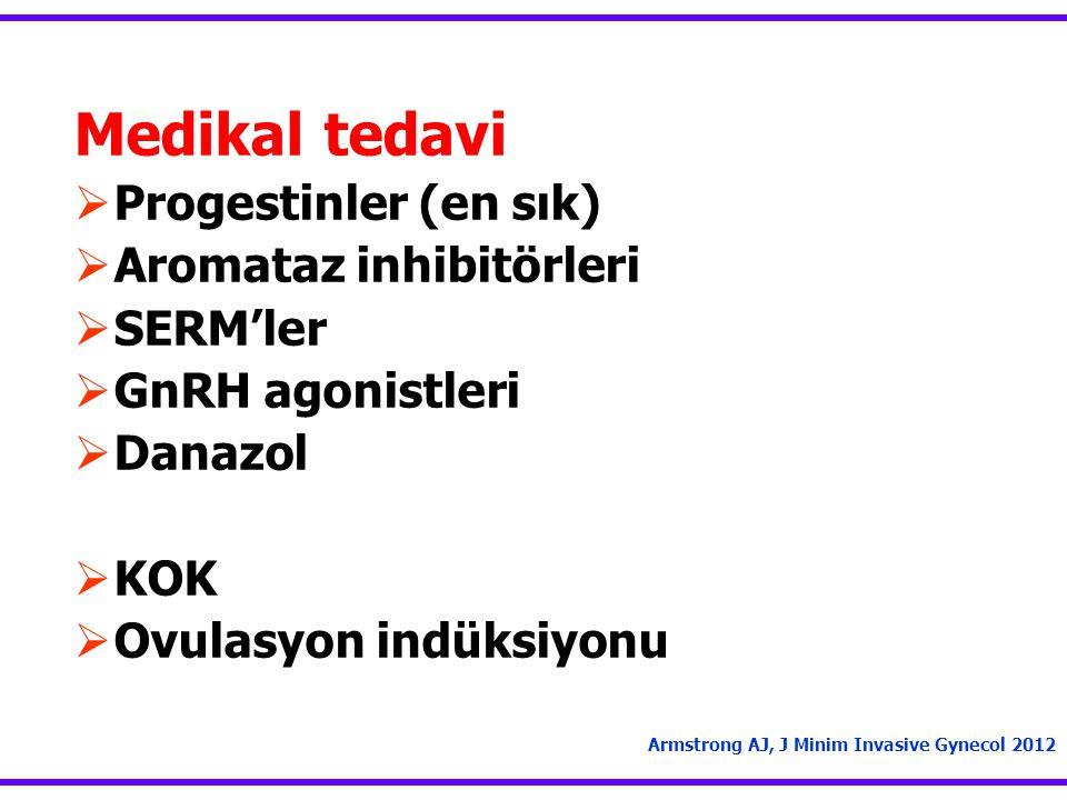 Medikal tedavi Progestinler (en sık) Aromataz inhibitörleri SERM'ler