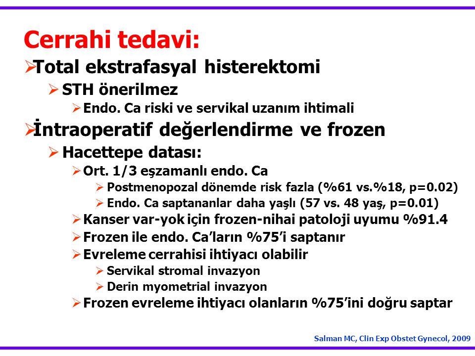 Cerrahi tedavi: Total ekstrafasyal histerektomi