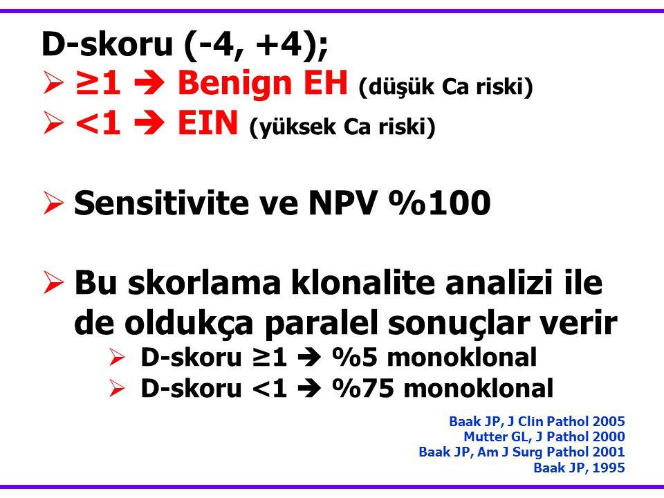 ≥1  Benign EH (düşük Ca riski) <1  EIN (yüksek Ca riski)