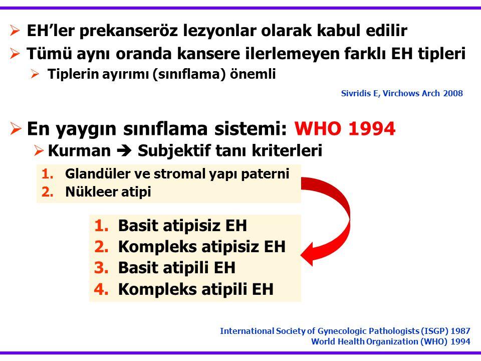 En yaygın sınıflama sistemi: WHO 1994