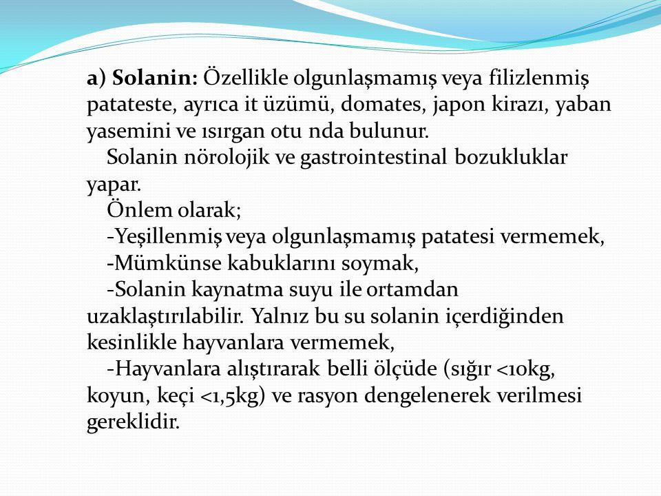 a) Solanin: Özellikle olgunlaşmamış veya filizlenmiş patateste, ayrıca it üzümü, domates, japon kirazı, yaban yasemini ve ısırgan otu nda bulunur.