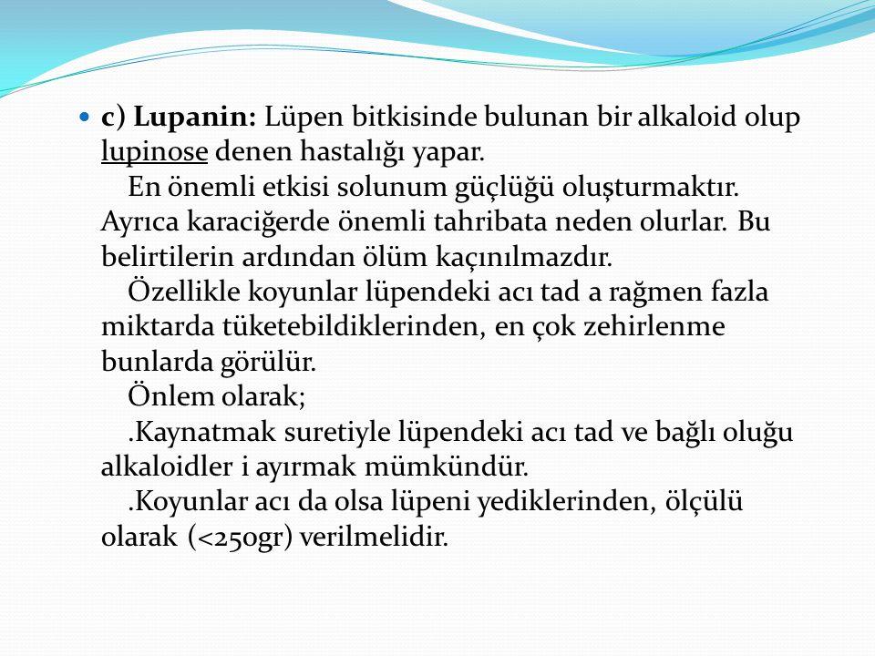 c) Lupanin: Lüpen bitkisinde bulunan bir alkaloid olup lupinose denen hastalığı yapar. En önemli etkisi solunum güçlüğü oluşturmaktır.