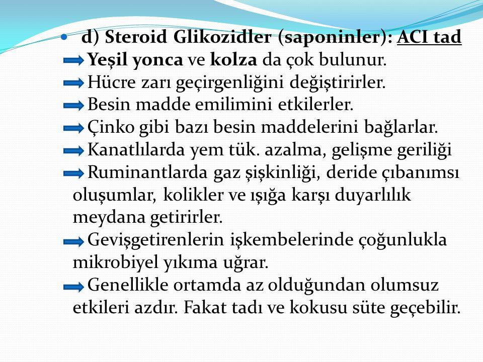 d) Steroid Glikozidler (saponinler): ACI tad