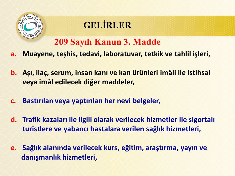 GELİRLER 209 Sayılı Kanun 3. Madde