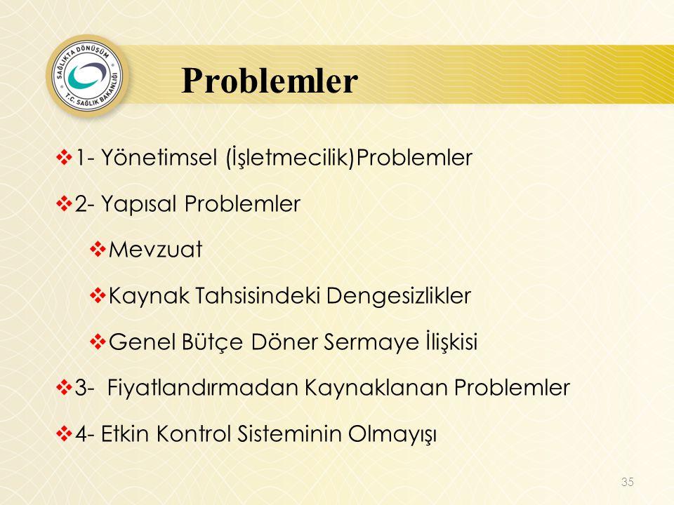 Problemler 1- Yönetimsel (İşletmecilik)Problemler