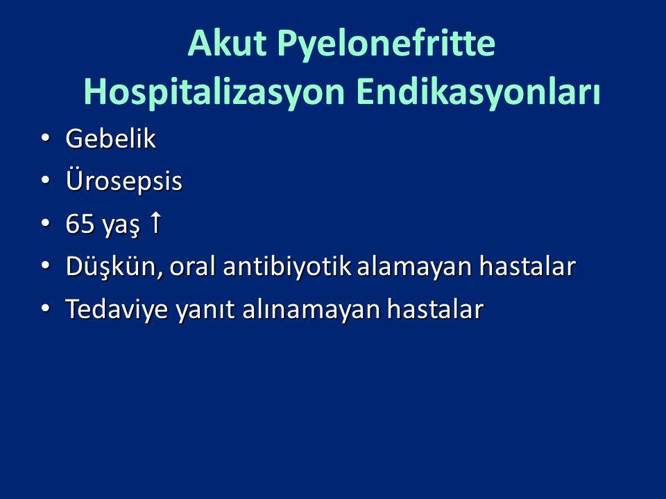 Akut Pyelonefritte Hospitalizasyon Endikasyonları