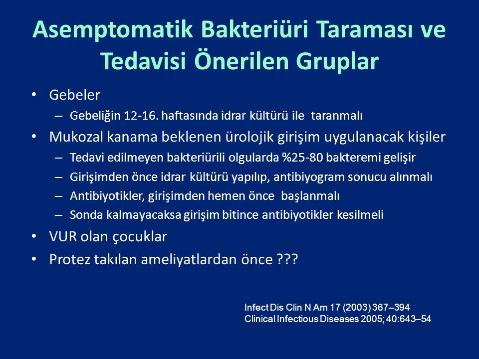 Asemptomatik Bakteriüri Taraması ve Tedavisi Önerilen Gruplar