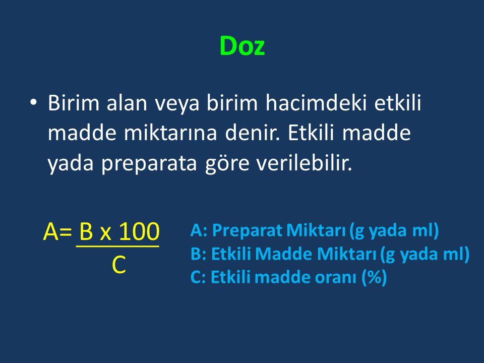 Doz Birim alan veya birim hacimdeki etkili madde miktarına denir. Etkili madde yada preparata göre verilebilir.