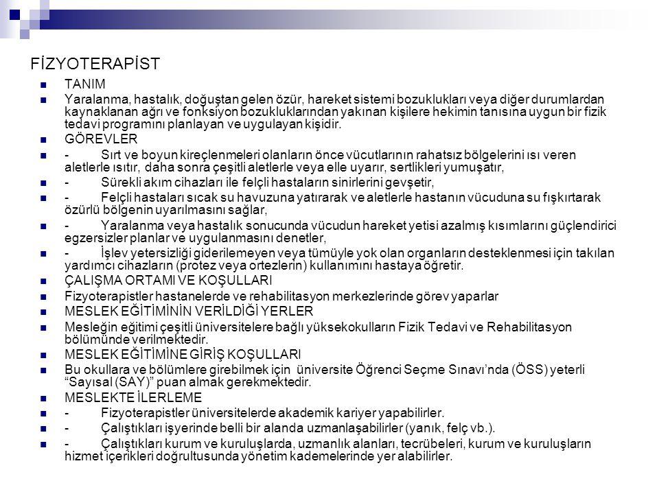 FİZYOTERAPİST TANIM.