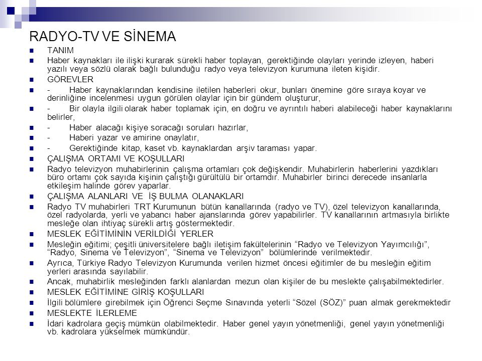 RADYO-TV VE SİNEMA TANIM