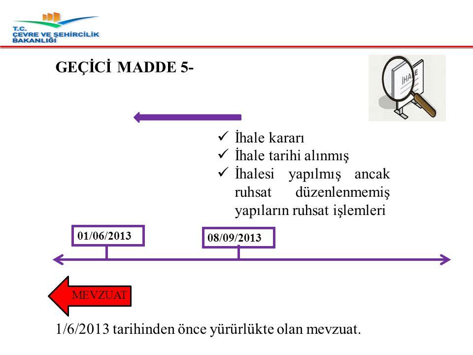 GEÇİCİ MADDE 5- İhale kararı İhale tarihi alınmış