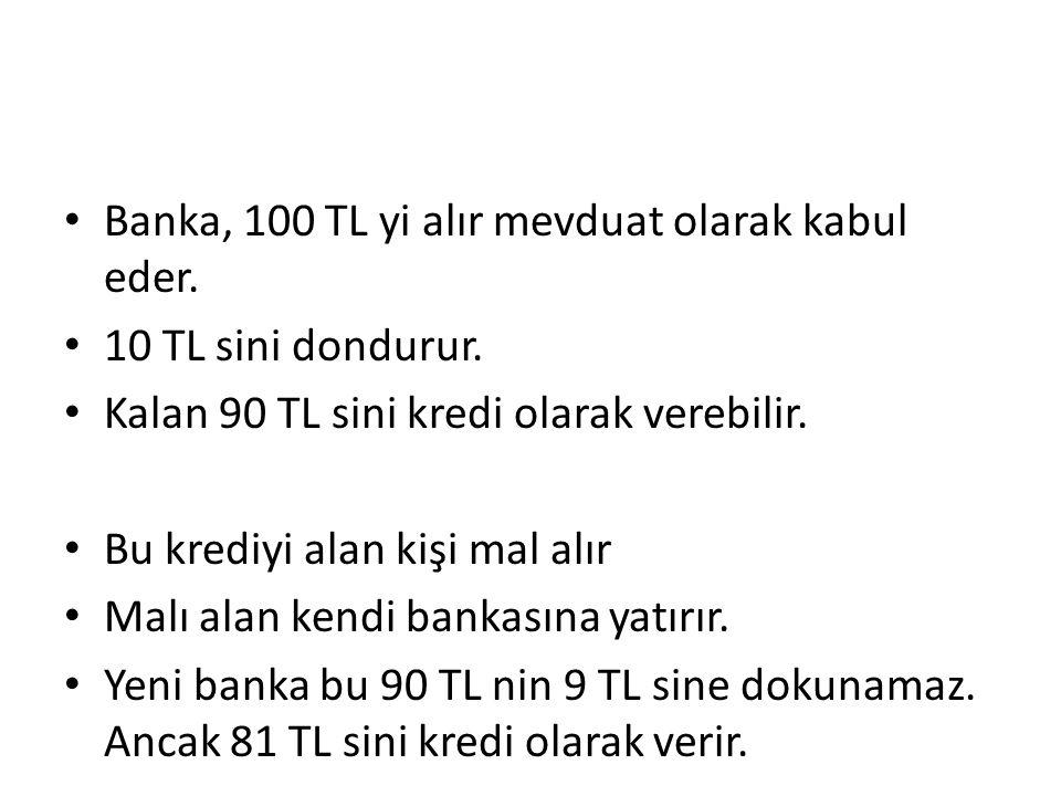 Banka, 100 TL yi alır mevduat olarak kabul eder.