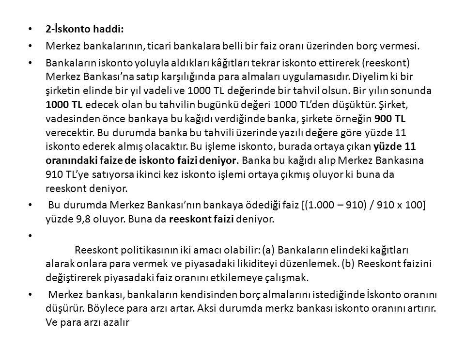2-İskonto haddi: Merkez bankalarının, ticari bankalara belli bir faiz oranı üzerinden borç vermesi.