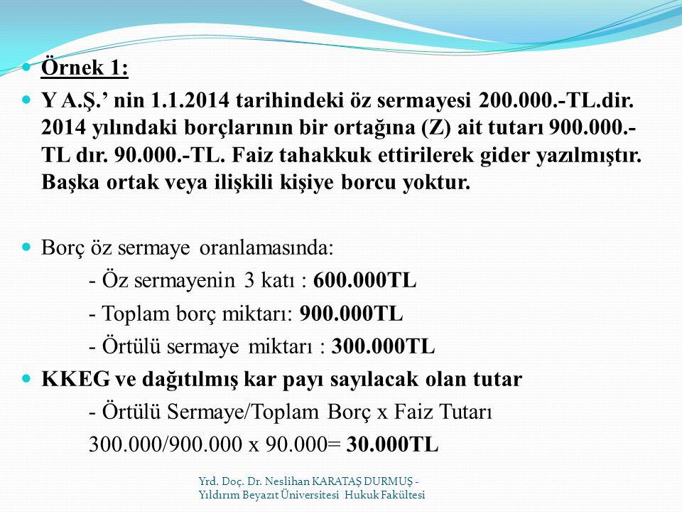 Borç öz sermaye oranlamasında: - Öz sermayenin 3 katı : 600.000TL