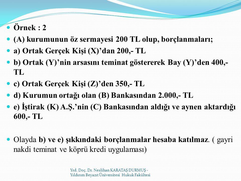 (A) kurumunun öz sermayesi 200 TL olup, borçlanmaları;