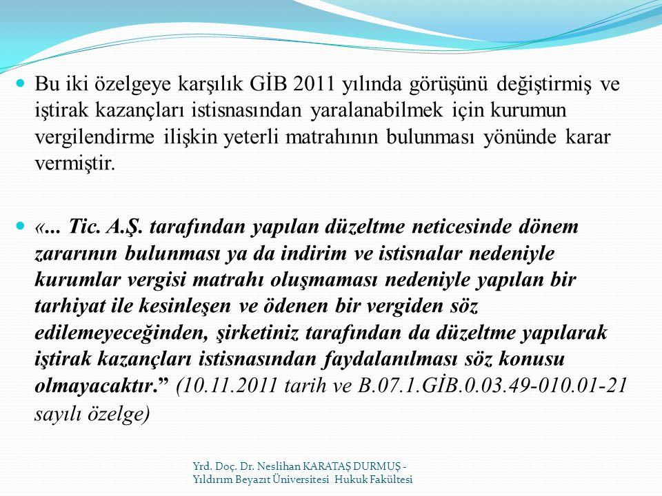 Bu iki özelgeye karşılık GİB 2011 yılında görüşünü değiştirmiş ve iştirak kazançları istisnasından yaralanabilmek için kurumun vergilendirme ilişkin yeterli matrahının bulunması yönünde karar vermiştir.