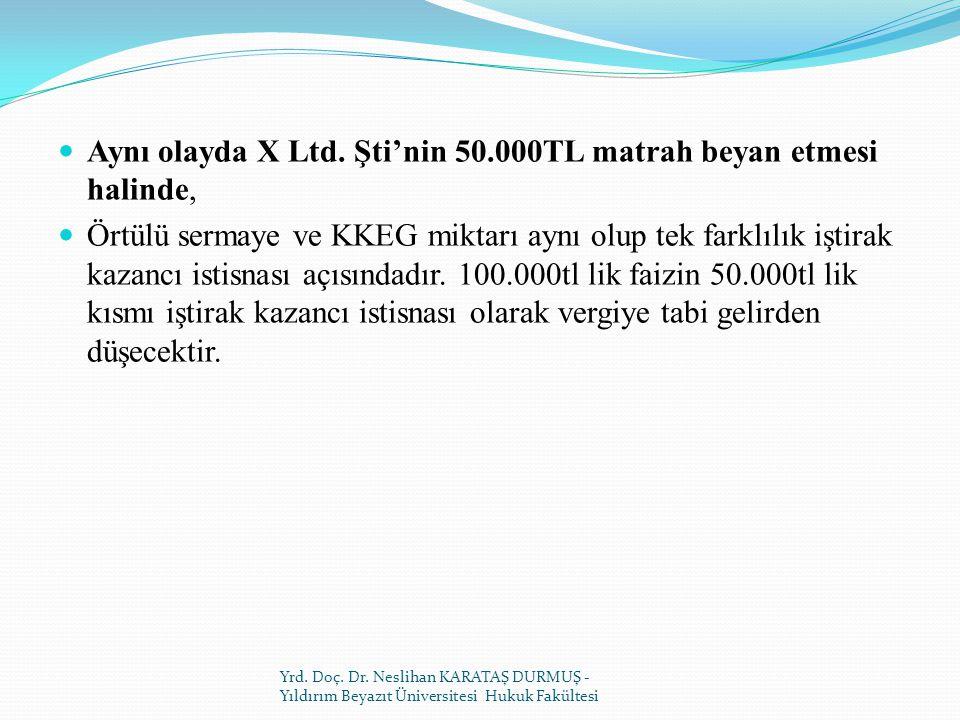 Aynı olayda X Ltd. Şti'nin 50.000TL matrah beyan etmesi halinde,