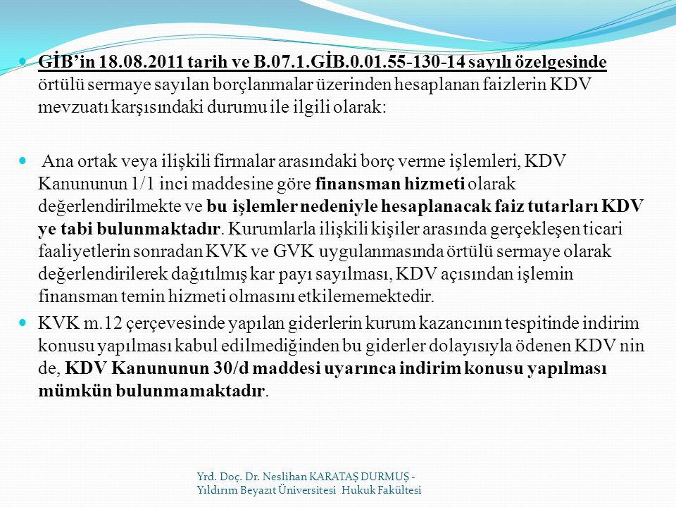GİB'in 18.08.2011 tarih ve B.07.1.GİB.0.01.55-130-14 sayılı özelgesinde örtülü sermaye sayılan borçlanmalar üzerinden hesaplanan faizlerin KDV mevzuatı karşısındaki durumu ile ilgili olarak: