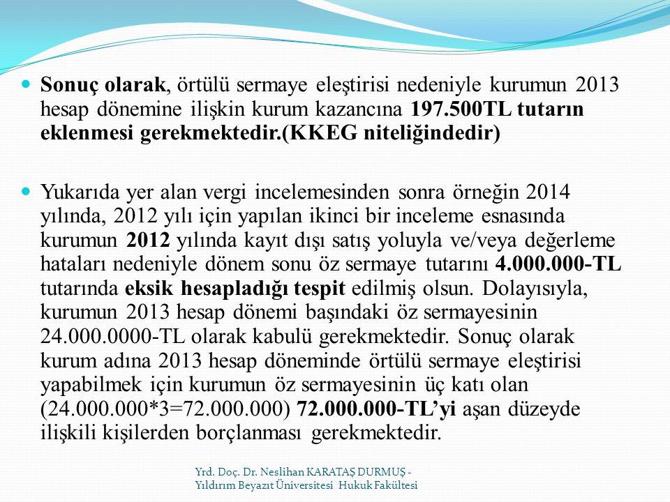 Sonuç olarak, örtülü sermaye eleştirisi nedeniyle kurumun 2013 hesap dönemine ilişkin kurum kazancına 197.500TL tutarın eklenmesi gerekmektedir.(KKEG niteliğindedir)