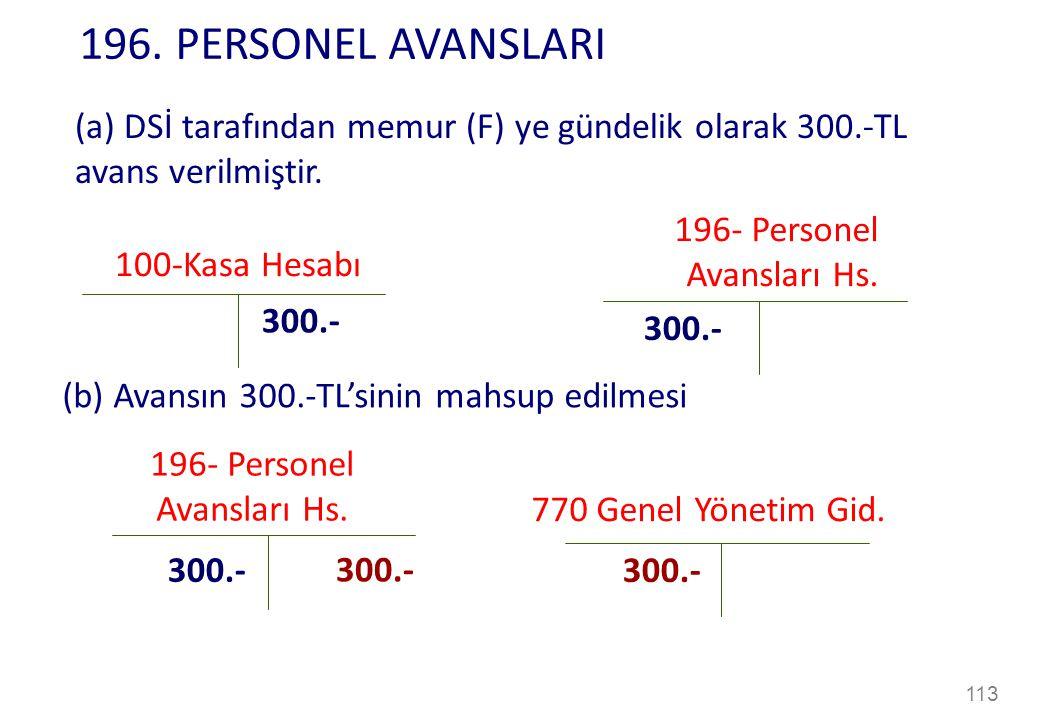 196. PERSONEL AVANSLARI (a) DSİ tarafından memur (F) ye gündelik olarak 300.-TL avans verilmiştir. 196- Personel.