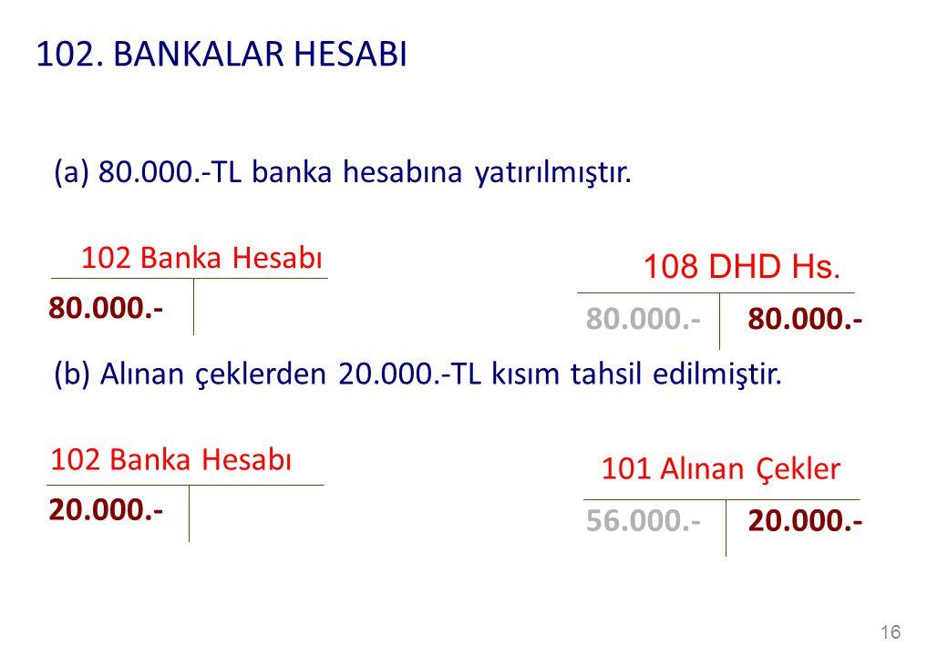 102. BANKALAR HESABI (a) 80.000.-TL banka hesabına yatırılmıştır.