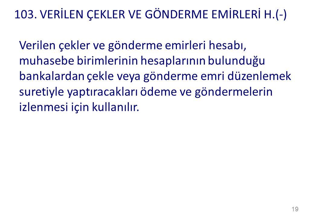 103. VERİLEN ÇEKLER VE GÖNDERME EMİRLERİ H.(-)