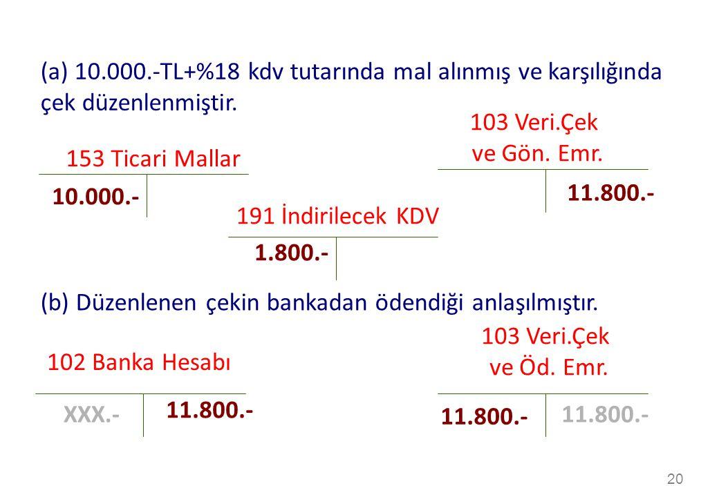 (b) Düzenlenen çekin bankadan ödendiği anlaşılmıştır. 103 Veri.Çek
