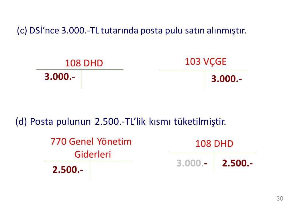 (d) Posta pulunun 2.500.-TL'lik kısmı tüketilmiştir.