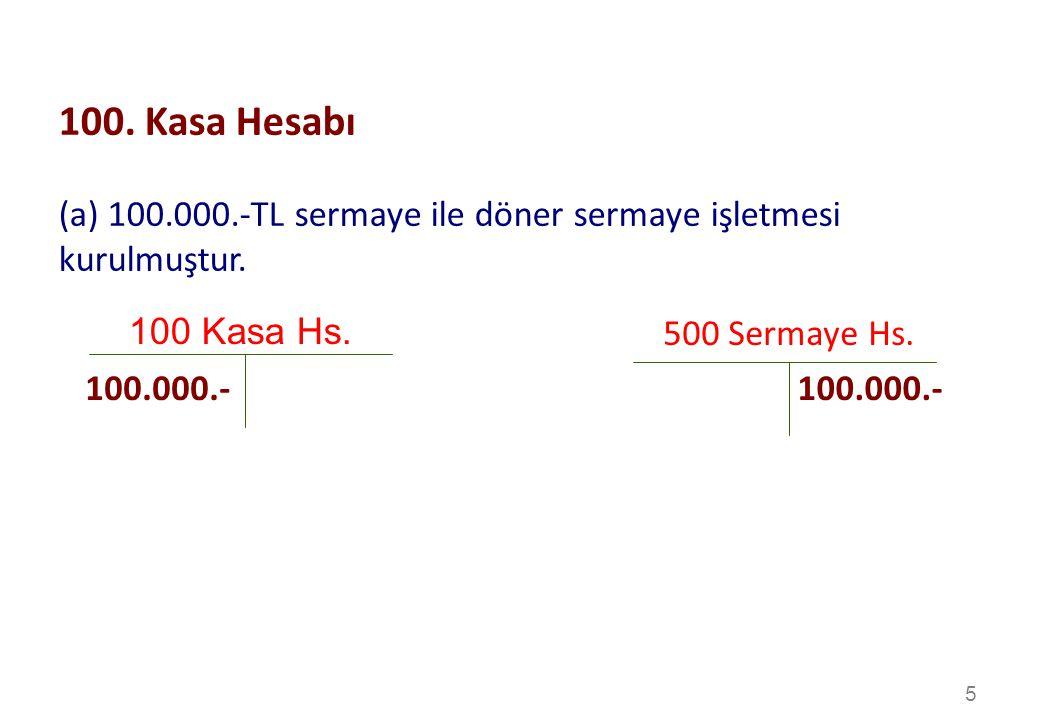 100. Kasa Hesabı (a) 100.000.-TL sermaye ile döner sermaye işletmesi kurulmuştur. 100 Kasa Hs. 500 Sermaye Hs.