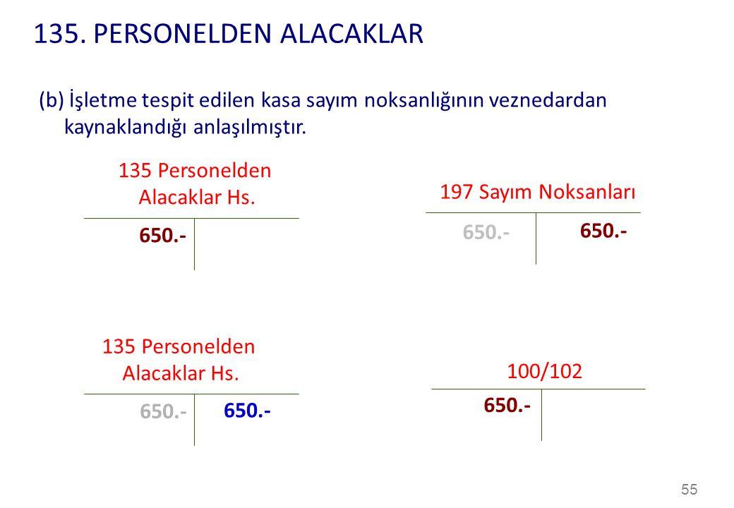 135. PERSONELDEN ALACAKLAR