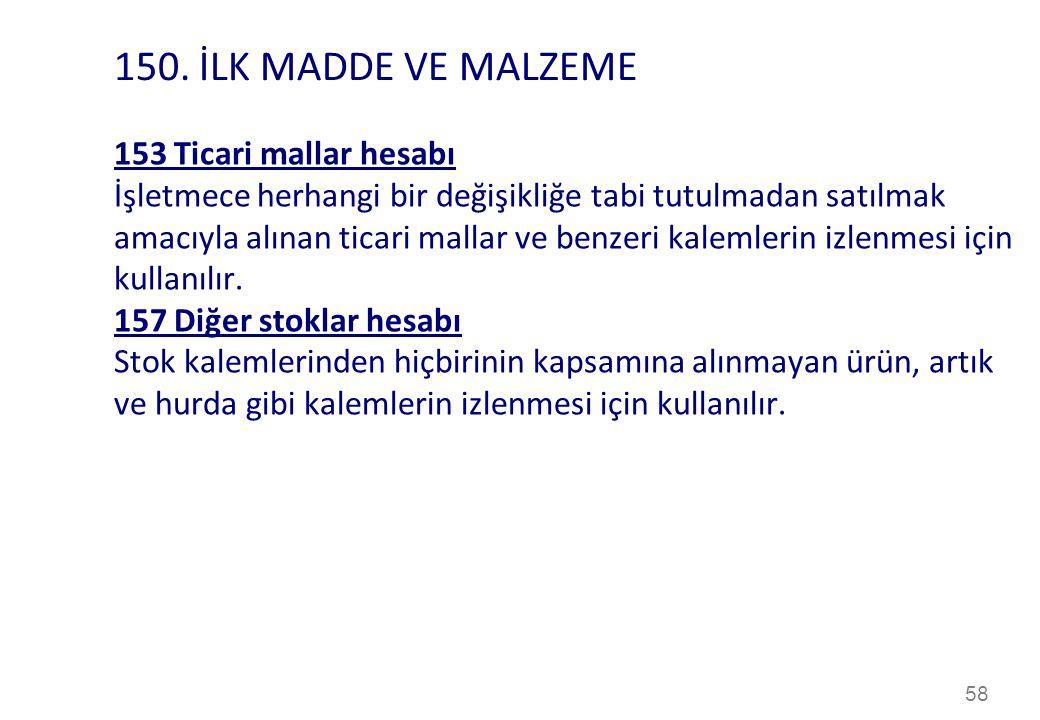 150. İLK MADDE VE MALZEME 153 Ticari mallar hesabı