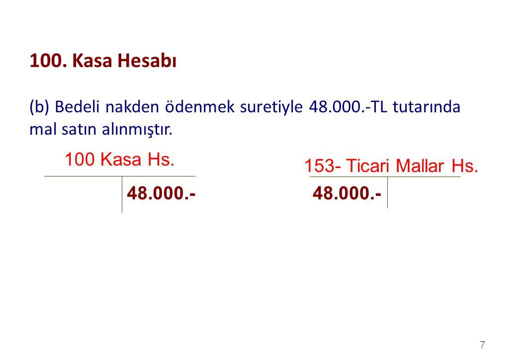 100. Kasa Hesabı (b) Bedeli nakden ödenmek suretiyle 48.000.-TL tutarında mal satın alınmıştır. 100 Kasa Hs.