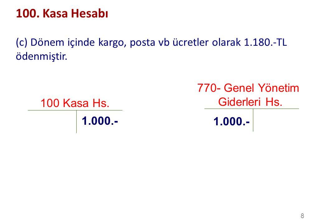 100. Kasa Hesabı (c) Dönem içinde kargo, posta vb ücretler olarak 1.180.-TL ödenmiştir. 770- Genel Yönetim.