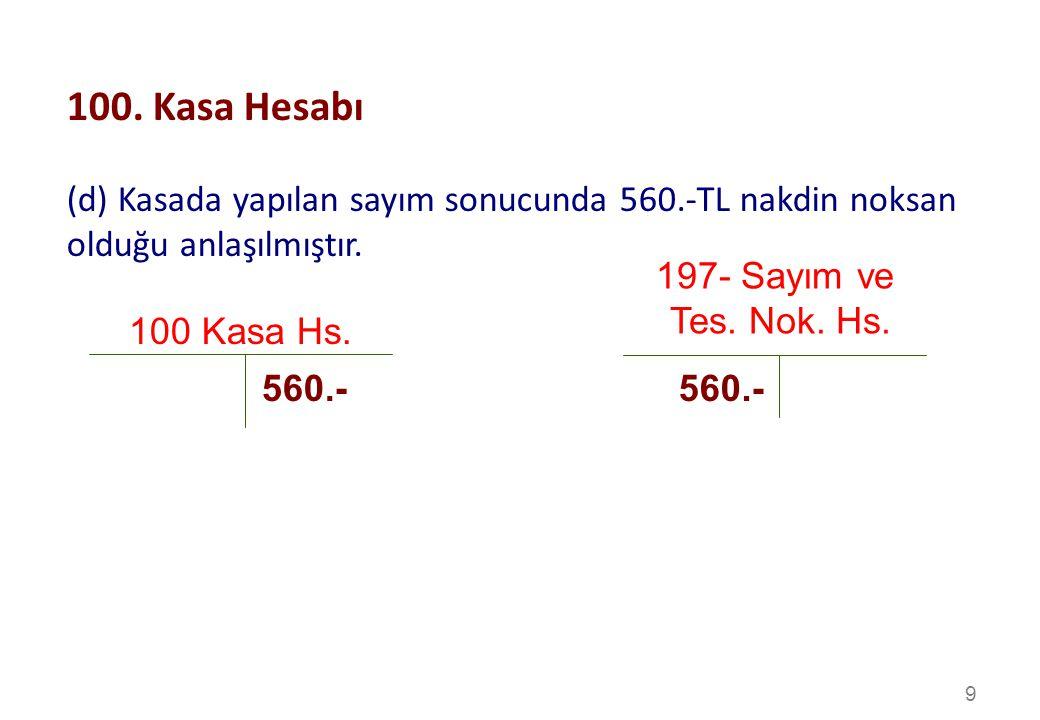 100. Kasa Hesabı (d) Kasada yapılan sayım sonucunda 560.-TL nakdin noksan olduğu anlaşılmıştır. 197- Sayım ve.