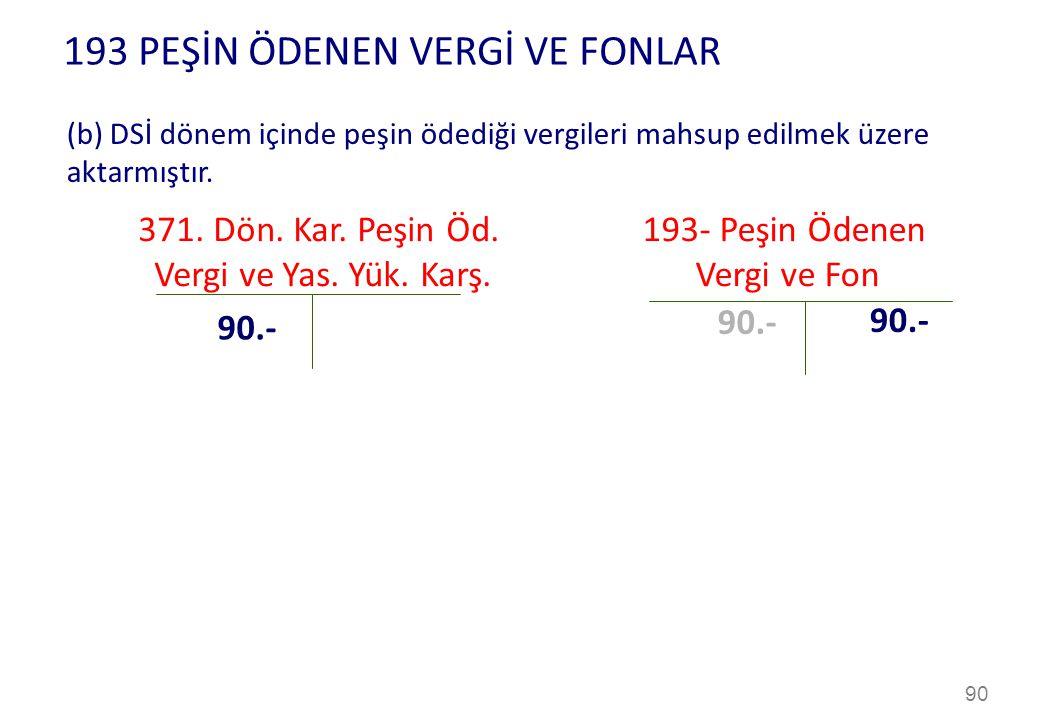 193 PEŞİN ÖDENEN VERGİ VE FONLAR