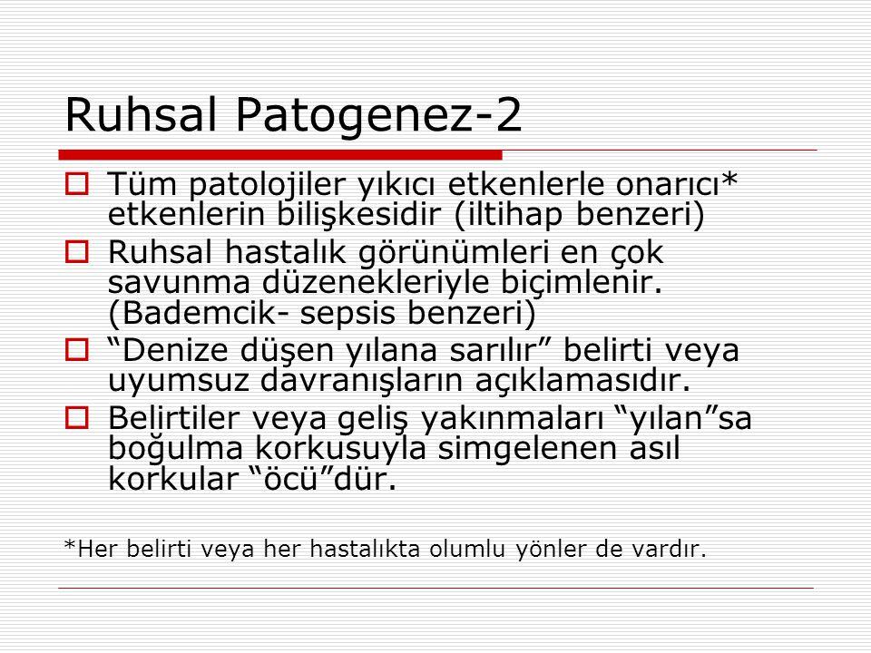 Ruhsal Patogenez-2 Tüm patolojiler yıkıcı etkenlerle onarıcı* etkenlerin bilişkesidir (iltihap benzeri)