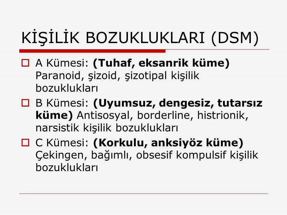 KİŞİLİK BOZUKLUKLARI (DSM)