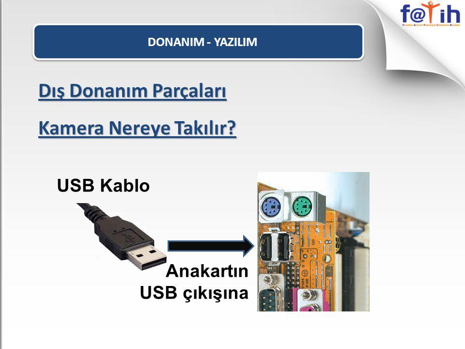 Dış Donanım Parçaları Kamera Nereye Takılır USB Kablo