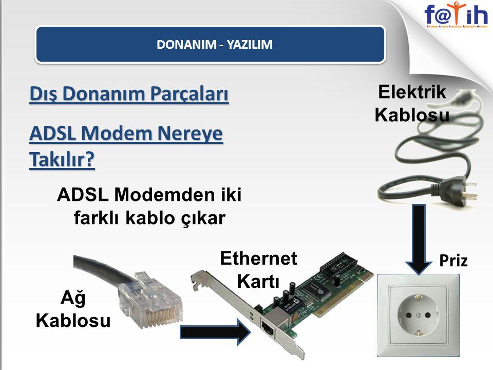 ADSL Modemden iki farklı kablo çıkar