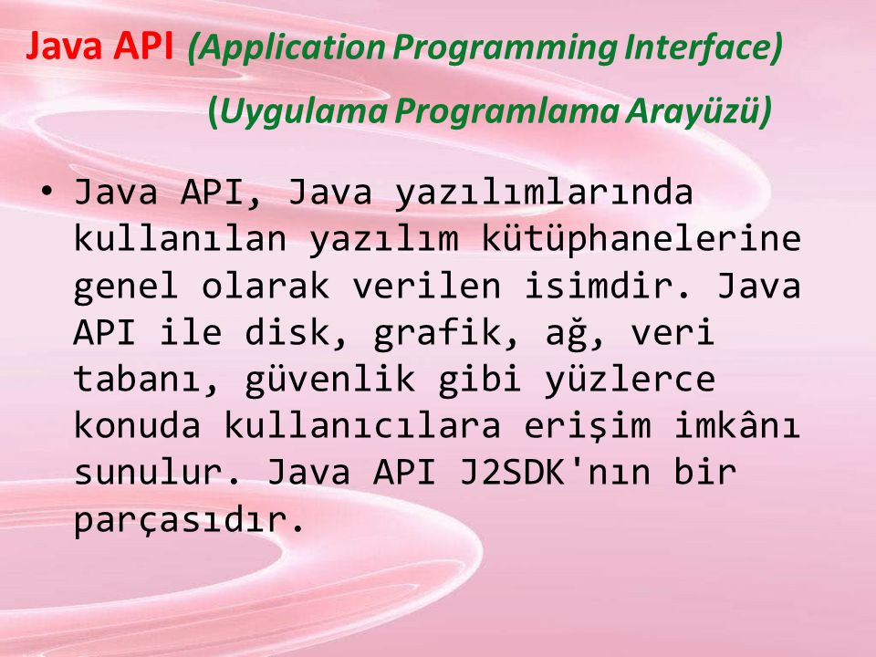 Java API (Application Programming Interface) (Uygulama Programlama Arayüzü)