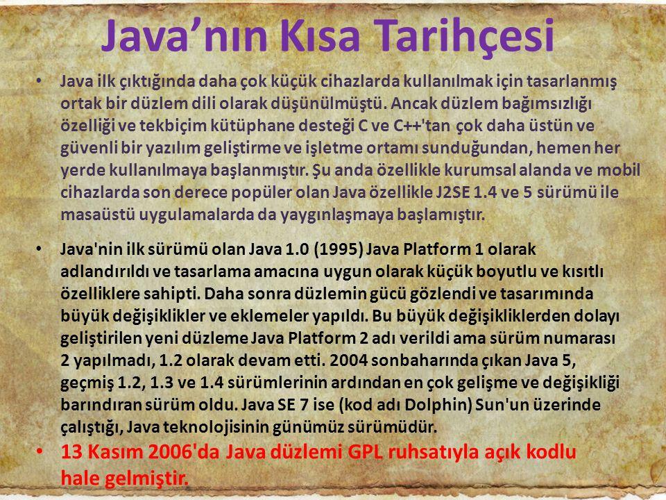 Java'nın Kısa Tarihçesi