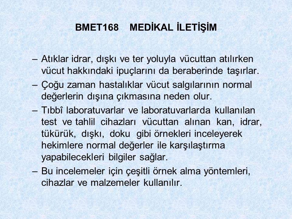 BMET168 MEDİKAL İLETİŞİM Atıklar idrar, dışkı ve ter yoluyla vücuttan atılırken vücut hakkındaki ipuçlarını da beraberinde taşırlar.