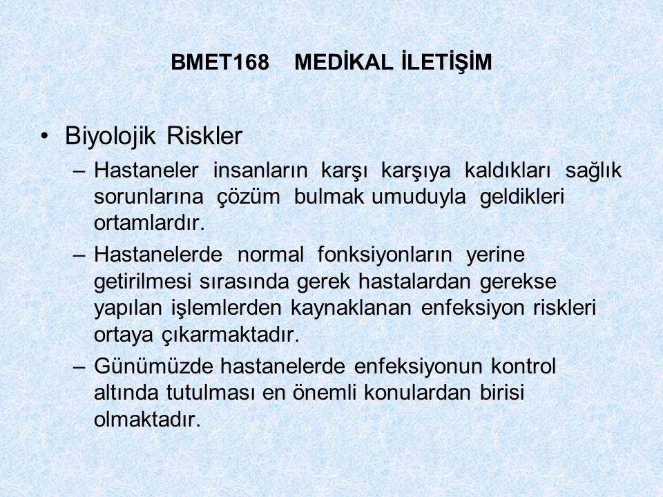 Biyolojik Riskler BMET168 MEDİKAL İLETİŞİM
