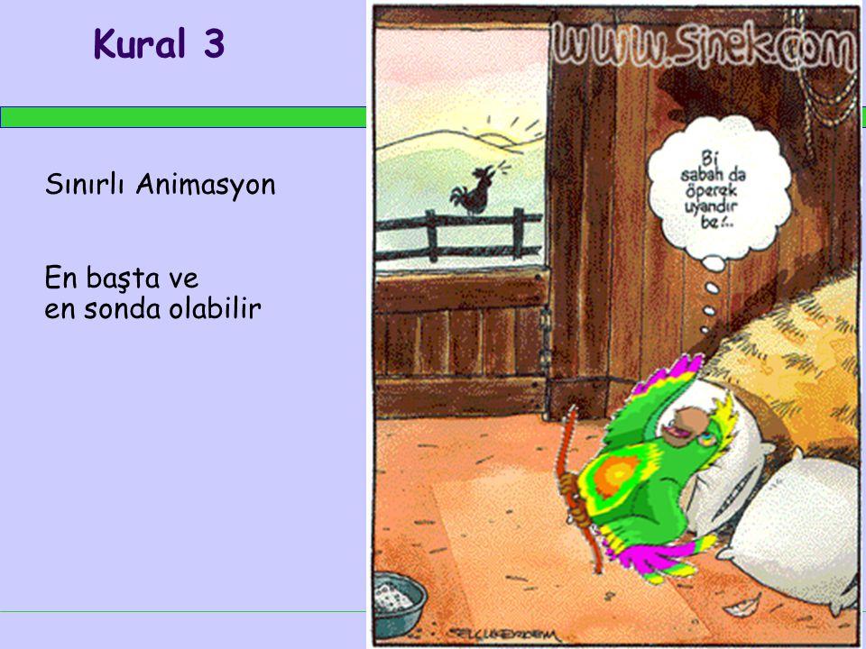 Kural 3 Sınırlı Animasyon En başta ve en sonda olabilir