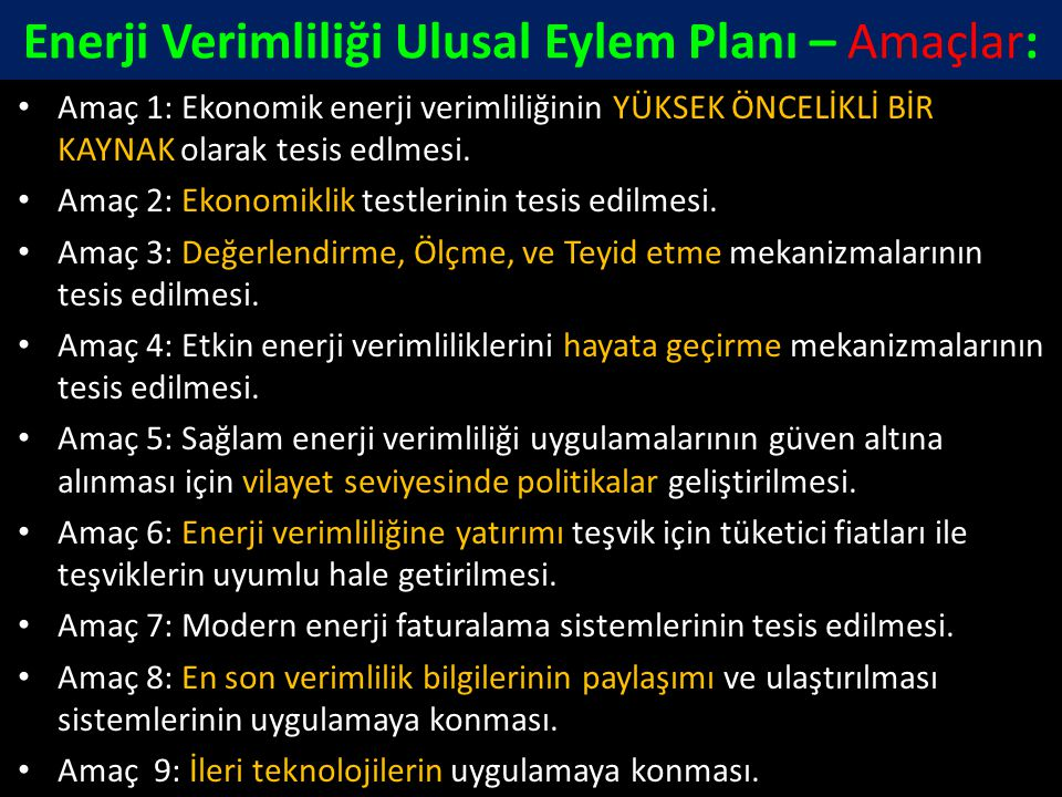 Enerji Verimliliği Ulusal Eylem Planı – Amaçlar: