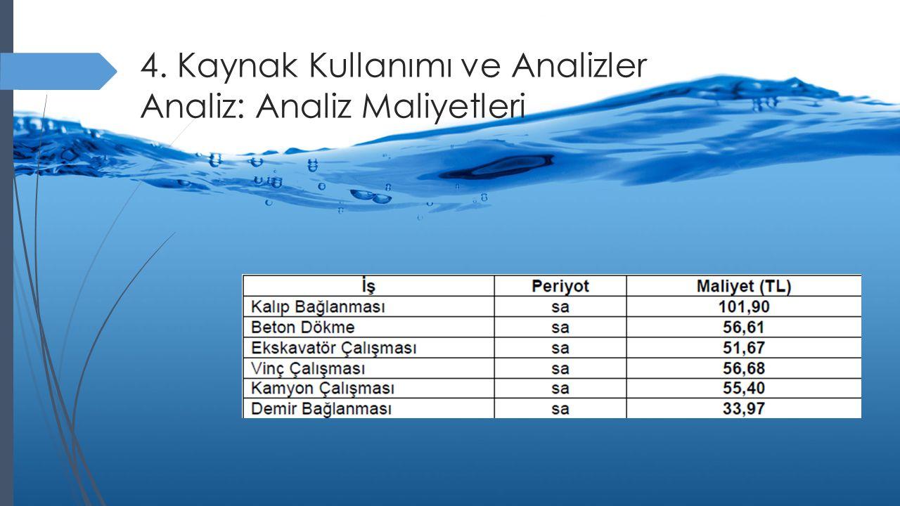 4. Kaynak Kullanımı ve Analizler Analiz: Analiz Maliyetleri