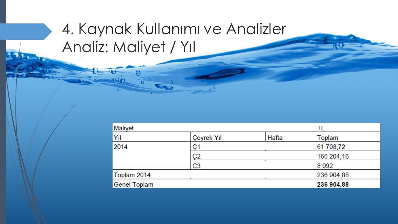 4. Kaynak Kullanımı ve Analizler Analiz: Maliyet / Yıl